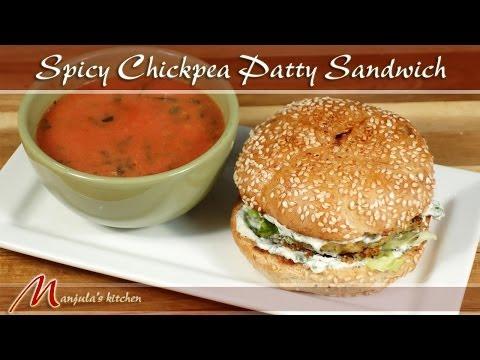 Spicy Chickpea Patty Sandwich Recipe by Manjula