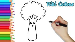 How to Color Happy Broccoli | Teach Drawing for Kids and Toddlers Coloring Page Video