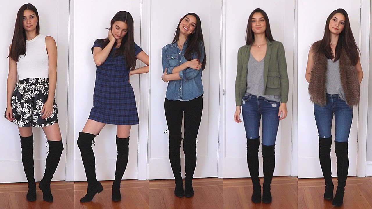 a5d32ef41bb How to Style Over the Knee Boots - YouTube