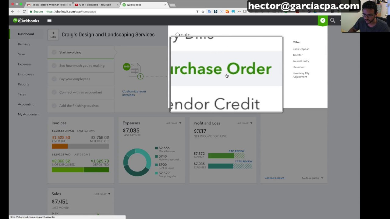 QuickBooks Online 2019 Tutorial: Purchase Orders and Partial Receiving
