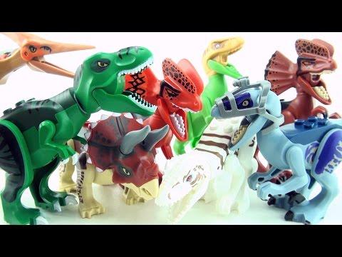 8 Jurassic World Lego Dinosaur toys - colorful lego dinosaurs - Tyrannosaurus Dilophosaurus Dinos