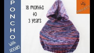 Children's Poncho with Hoodie knitting pattern (size 18 months-3 years) - So Woolly