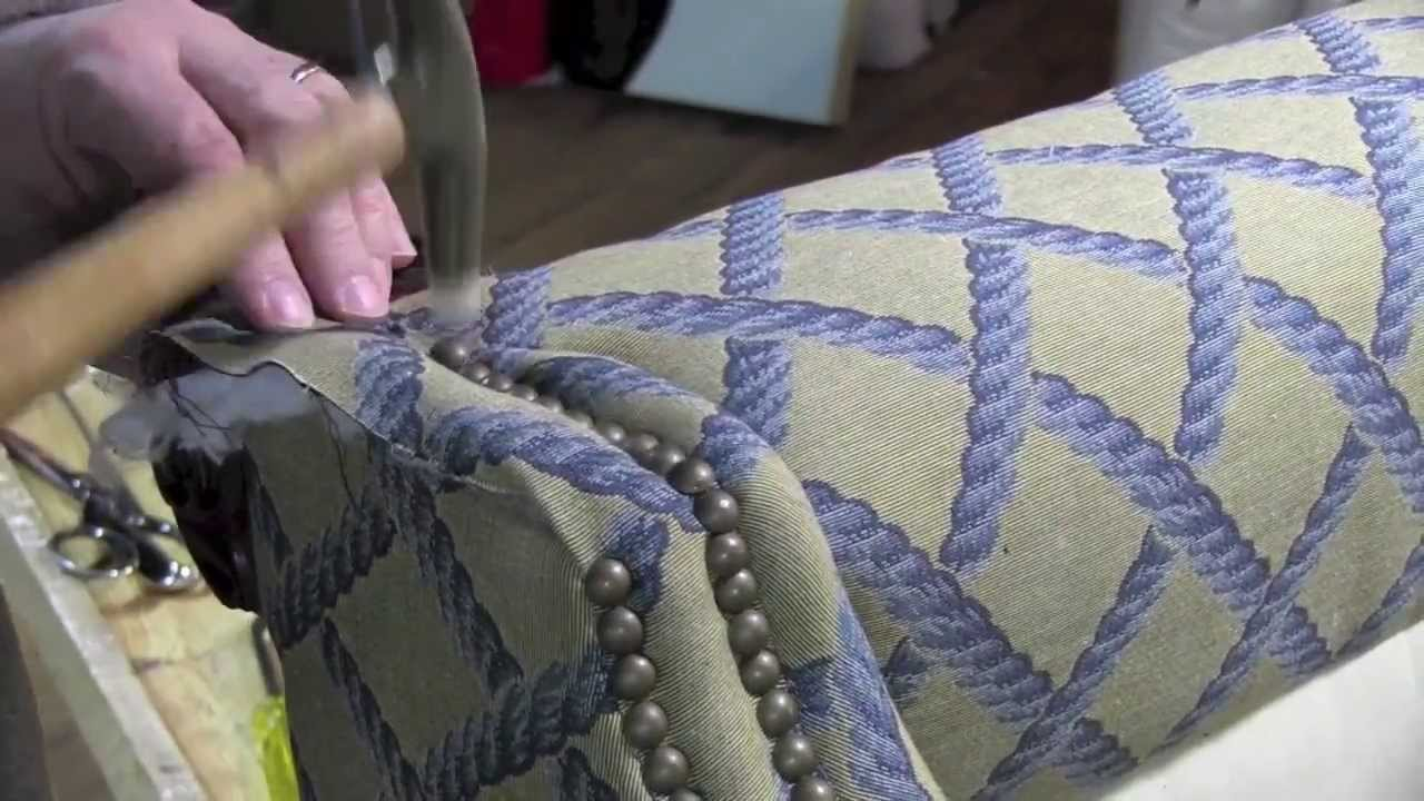 reupholster dining room chairs club on casters upholstery installing decorative tacks in a wingback chair - youtube