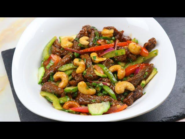 বিফ ক্যাশুনাট সালাদ | Beef Cashew Nut Salad | Bangladeshi Chinese Restaurant Style Cashew Nut Salad