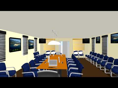 Conference Room rendering with multiple displays, cameras, and control system