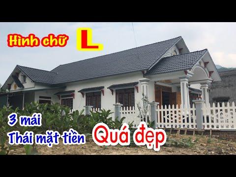 Mẫu nhà cấp 4 hình chữ L mặt tiền 3 mái thái cực đẹp với 3 phòng ngủ.Very beautiful Thai style house