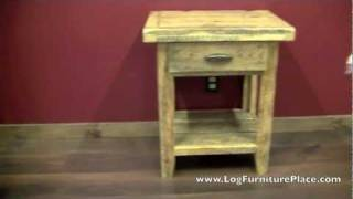 Rural Root 1 Drawer Barnwood Nightstand From Logfurnitureplace.com
