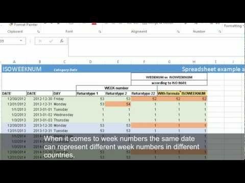 Calculating week numbers with WEEKNUM and ISOWEEKNUM (Excel 2013)