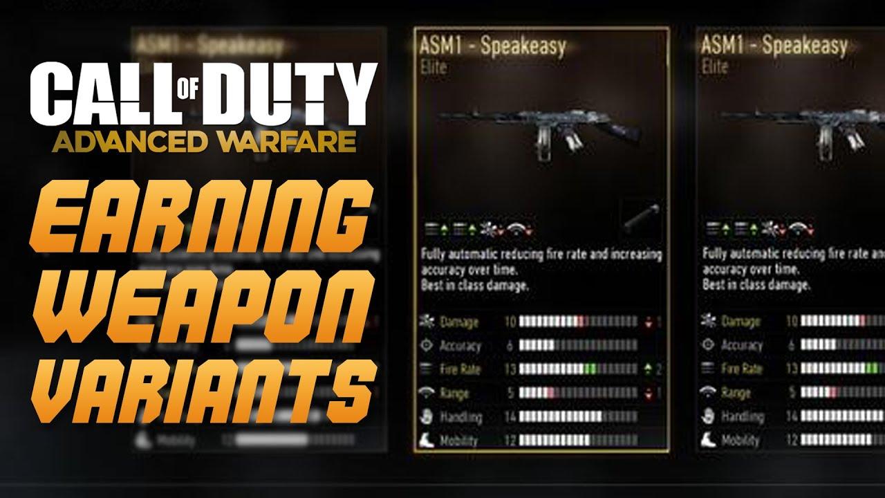 Call of duty advanced warfare earn elite weapon variants new