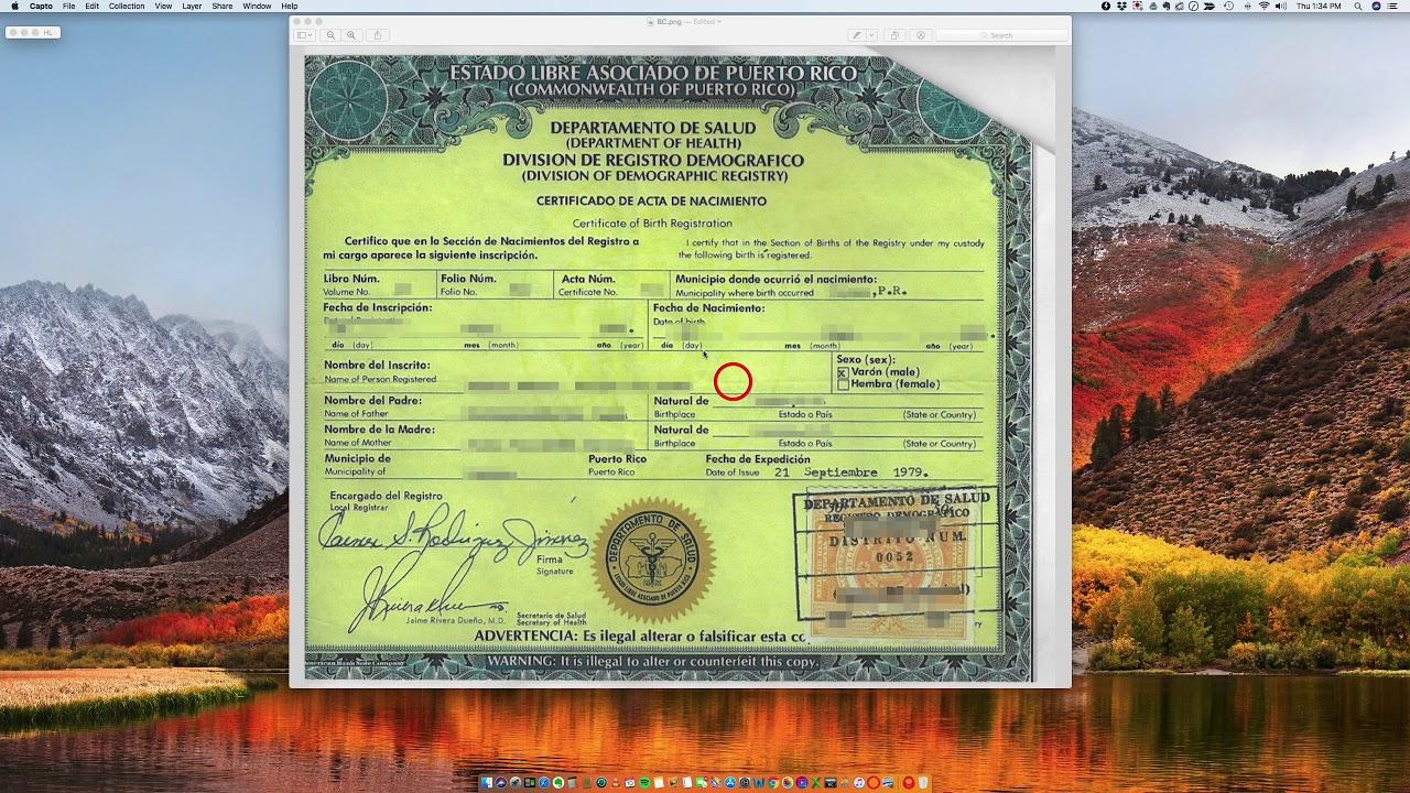 certificate puerto rico birth acceptable