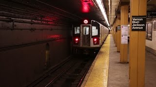 New York City Subway Trains Late Evening