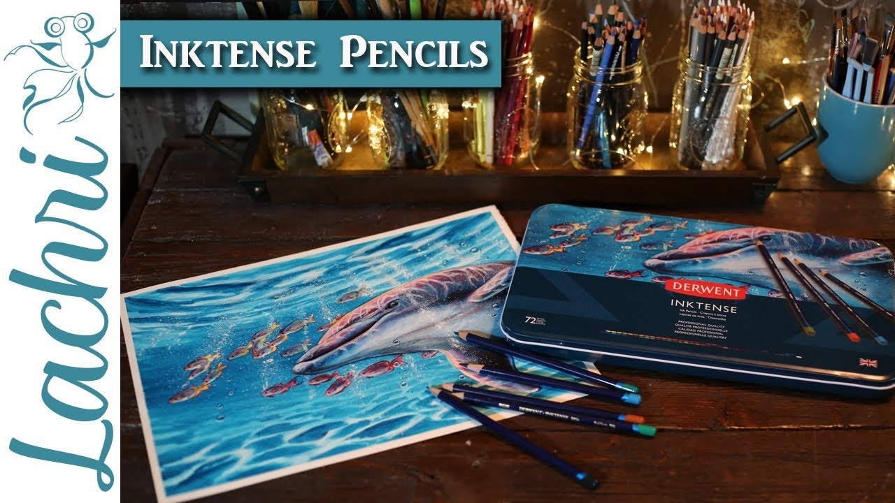 Painting the Dolphin cover for the new Derwent Inktense Pencil Tins - Lachri