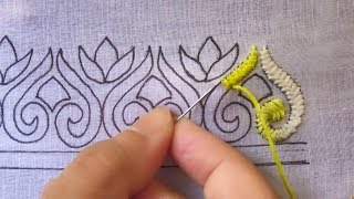 hand embroidery border design ,gorgeous border design for dress,cross stitch