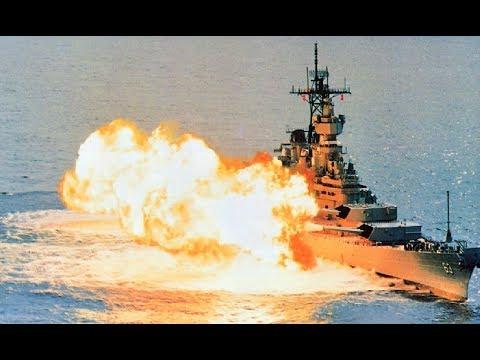 """USS Missouri Firing All 9 - 16"""" Guns"""