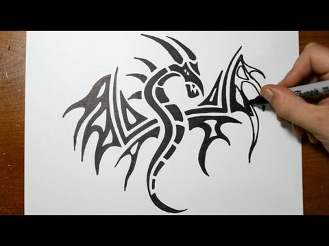 How to Draw a Tribal Dragon Tattoo Design - Sketch 3 thumbnail