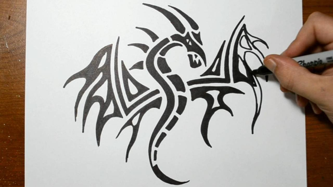 How to draw a tribal dragon tattoo design sketch 3 youtube