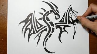 How to Draw a Tribal Dragon Tattoo Design - Sketch 3