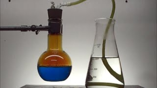 Chemistry experiment 29 - Copper + nitric acid fountain