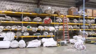 Tent storage facility at Big Ten Rentals in Iowa