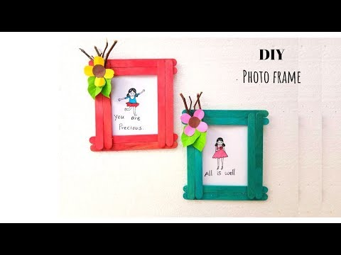 Easy DIY Photo Frame Making with Popsicle or Ice Cream sticks Tutorial  | Aloha Crafts