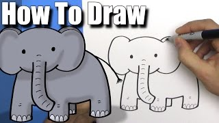 How To Draw a Cute Cartoon Elephant - EASY Chibi - Step By Step