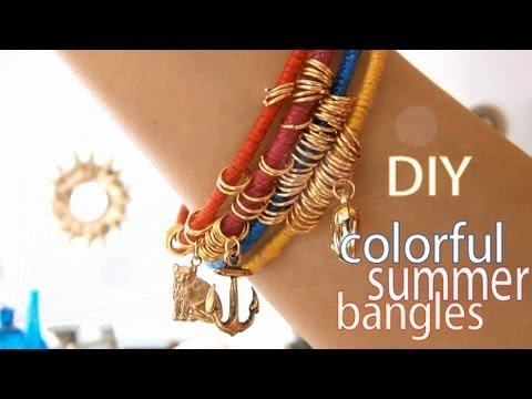 DIY Fashion ♥ Colorful Summer Bangles - YouTube