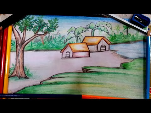 Easy learn Scenary Painting, How to draw Landscape Drawing for Kids, Colour Pencils Drawing for Kid