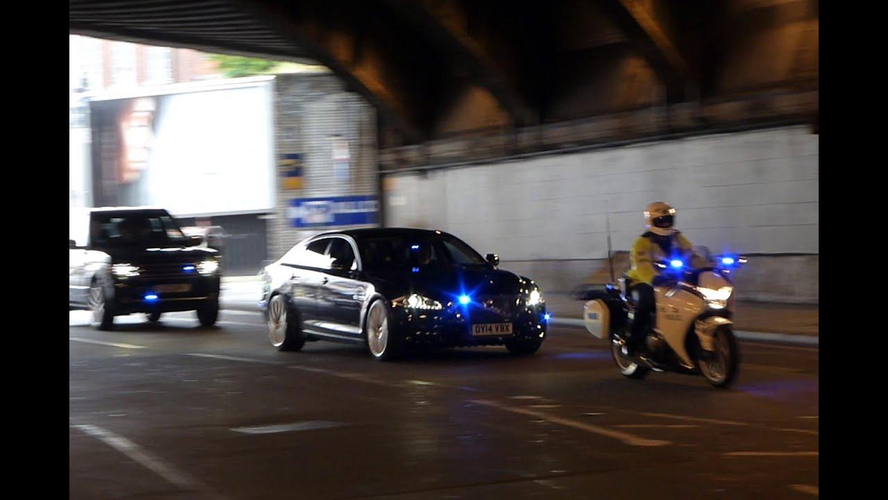 Metropolitan Police Special Escort Group Escorting A Vip