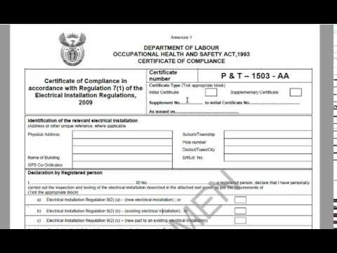 Electrical Certificate of Compliance Part 1