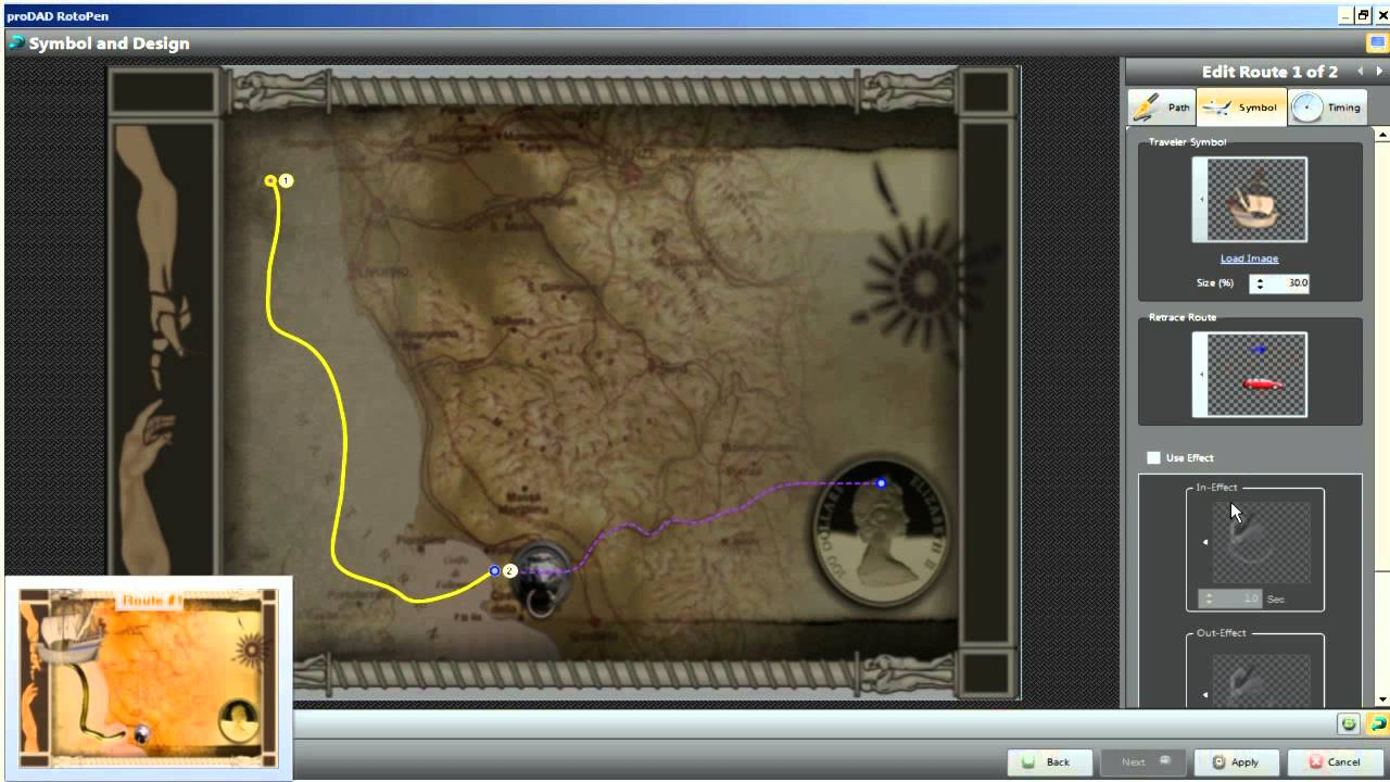 creating an animated route on a map with the rotopen filter in