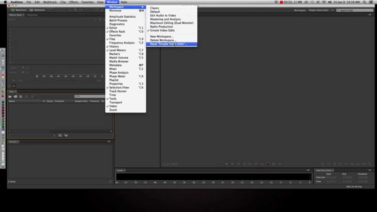 Adobe Audition Workspace Youtube
