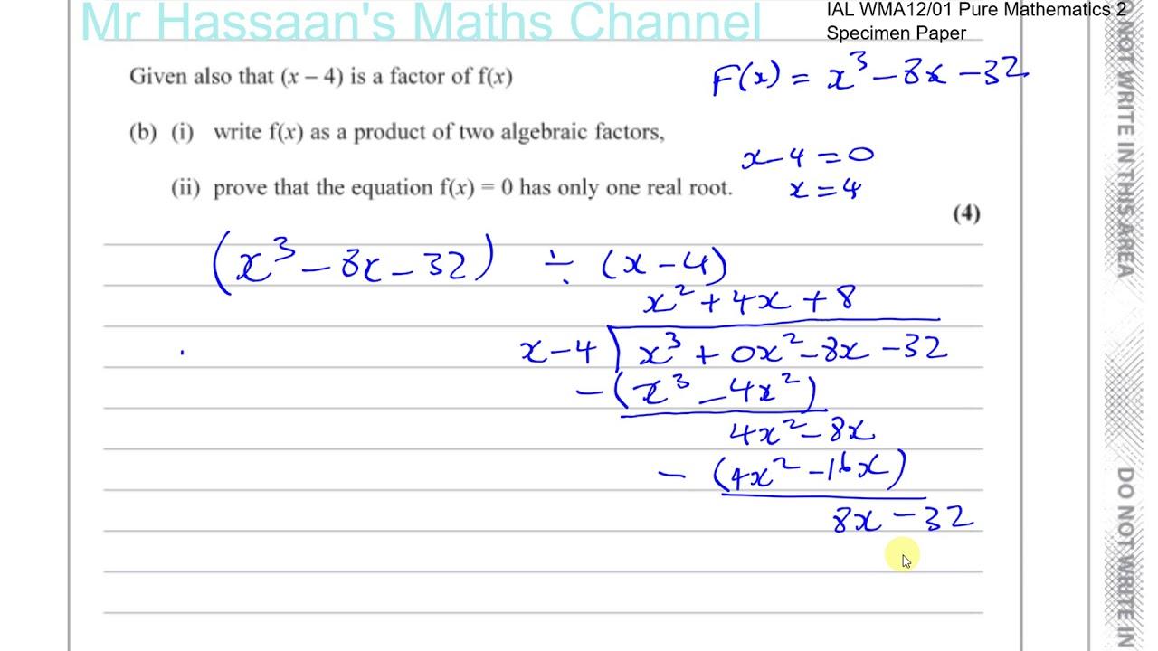 P2 new Specimen Paper IAL Q5 Factor and Remainder Theorems, Algebraic Long  Division