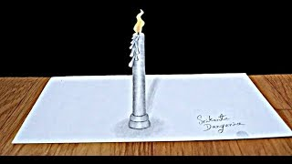 3D candle drawing | 3d drawings