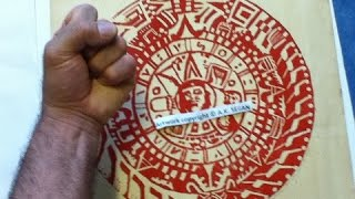 Aztec Calendar Stone w/ comrade Che, a 1973 or