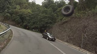 You found a fine time to leave me loose wheel - Motorbike rider nearly hit by flying wheel
