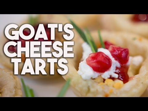 GOAT CHEESE with ROSEMARY & POMEGRANATE Tarts - 12 Days of Christmas