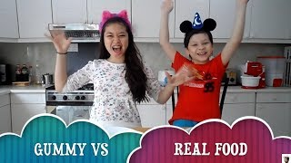 Kevin vs Anya Challenge | Gummy Food vs Real Food Challenge | Kakak & Adik Challenge