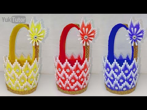 182) Ide kreatif -  How to make baskets from cotton buds || kreasi cotton bud