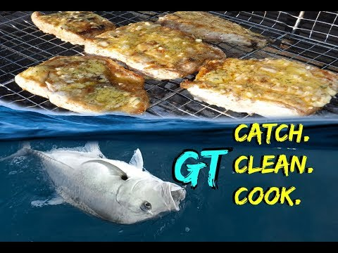 Giant Trevally - {CATCH CLEAN And COOK} Deep Sea Fishing In MOZAMBIQUE!