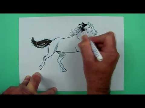 Wie zeichnet man ein springendes Pferd ? Zeichnen für Kinder