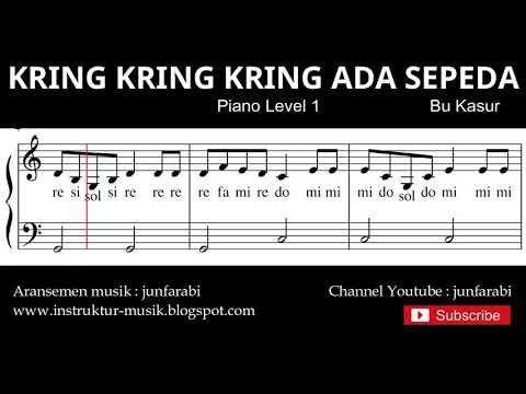 Not Balok Kring Kring Ada Sepeda - Tutorial Piano Level 1 - Notasi Lagu Anak - Doremi Solmisasi