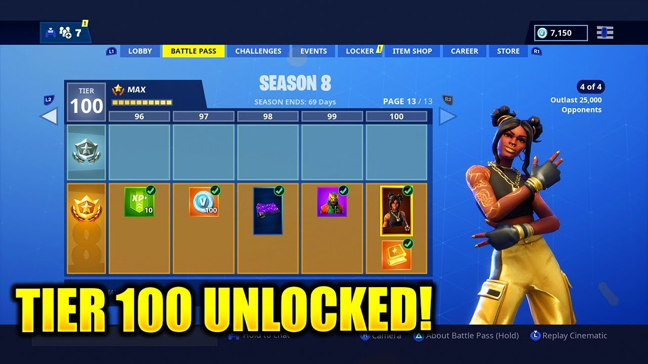 every tier 1 100 full season 8 battle pass unlocked fortnite season 8 battle pass level 100 - fortnite season 8 battle pass tiers