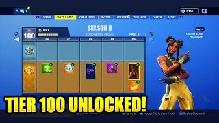 EVERY TIER 1-100 FULL SEASON 8 BATTLE PASS UNLOCKED! FORTNITE SEASON 8 BATTLE PASS LEVEL 100!