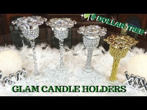 QUICK EASY GLAM CHRISTMAS CANDLE HOLDERS USING DOLLAR TREE ITEMS | DOLLAR TREE CHRISTMAS HOME DECOR
