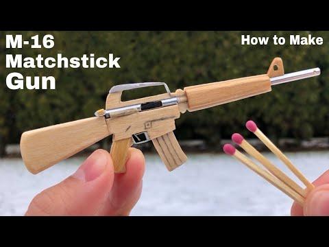 How To Make A Micro M-16 That Shoots - Mini Matchstick Gun - Awesome Idea