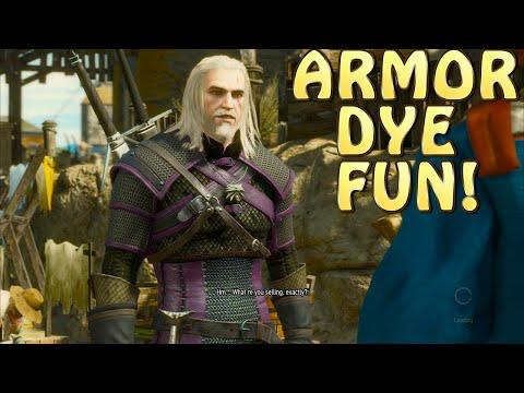 Witcher 3: Blood and Wine- DYE FUN w/ MANTICORE & VENOMOUS VIPER ARMOR!  LOCATION of DYE MERCHANT