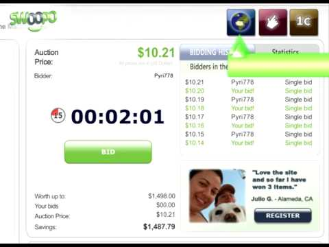 Swoopo Video Tutorial - Types Of Auctions (US)