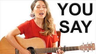 You Say - Lauren Daigle EASY Guitar Tutorial with Fingerpicking and Play Along Video