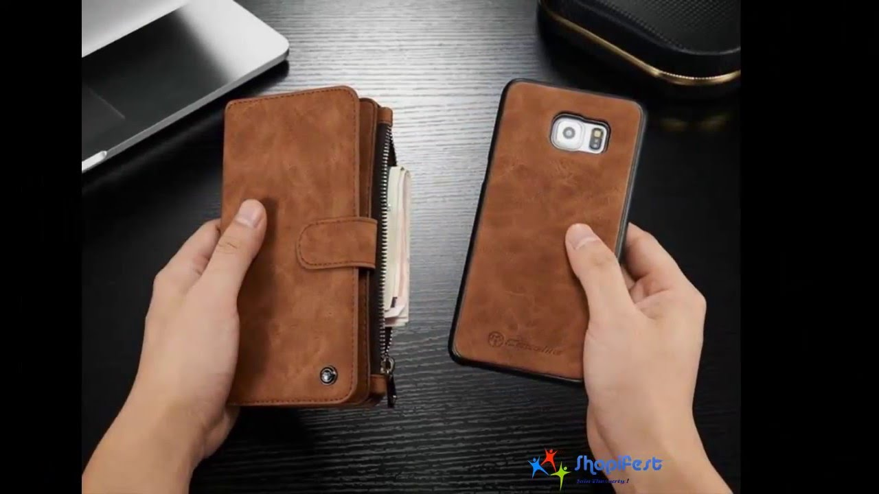 225bc2fdcd4 Luxury Leather Flip wallet cover for iPhone   Samsung - YouTube