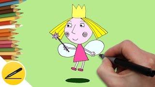 Как Нарисовать Принцессу Холли ✿ Рисуем Маленькое королевство Бена и Холли ✿ Рисование для детей(Как рисовать принцессу Холли. В этом видео я показываю как нарисовать принцессу Холли из мультика
